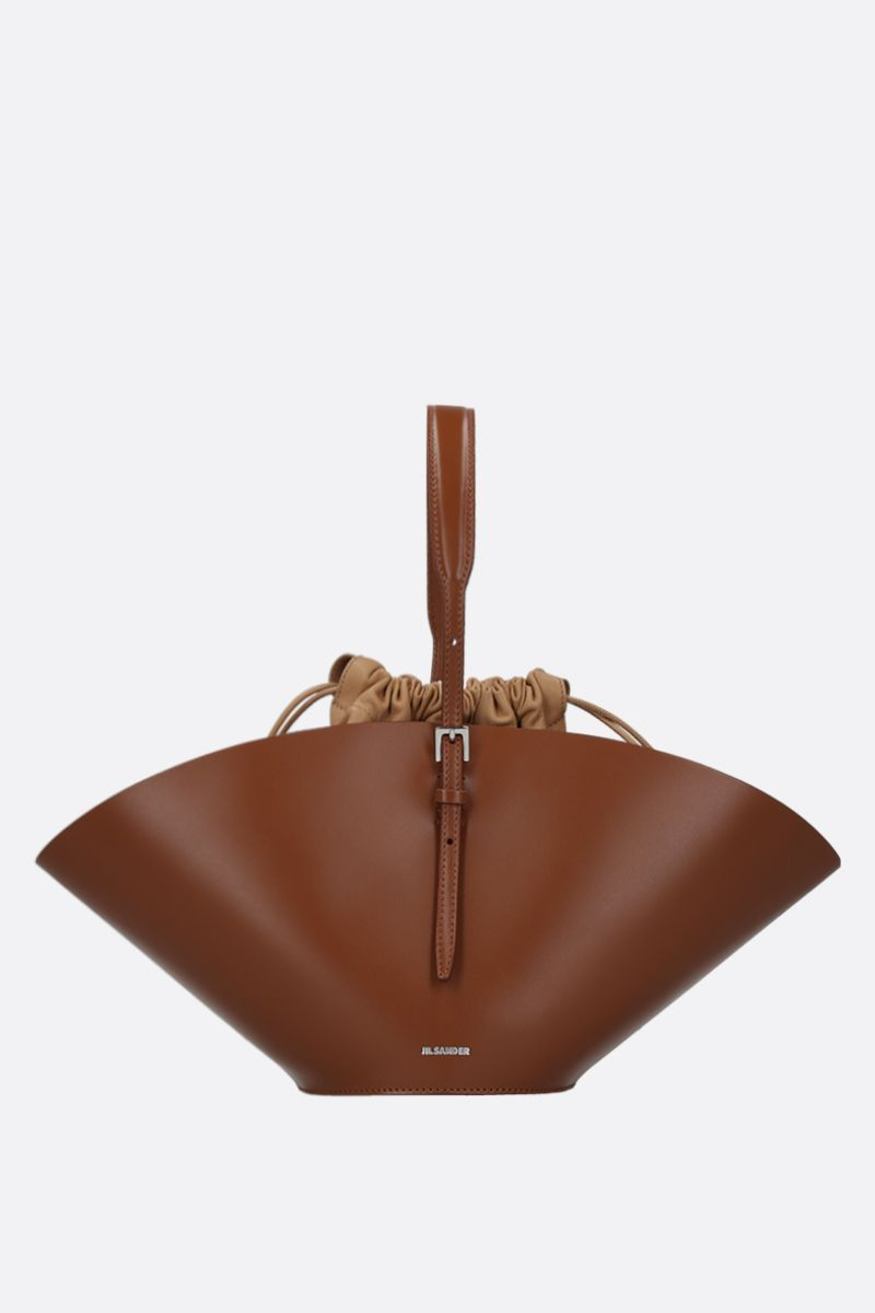 JIL SANDER: Sombrero small top handle bag in smooth leather Color Brown_1
