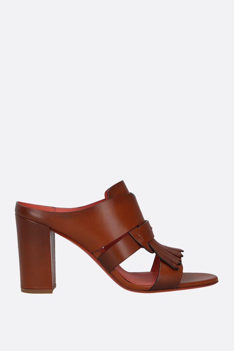 SANTONI: fringe-detailed smooth leather mule sandals Color Brown_1