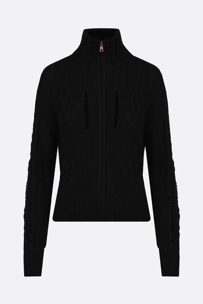 SEE BY CHLOÈ: wool blend zipped cardigan Color Black_1