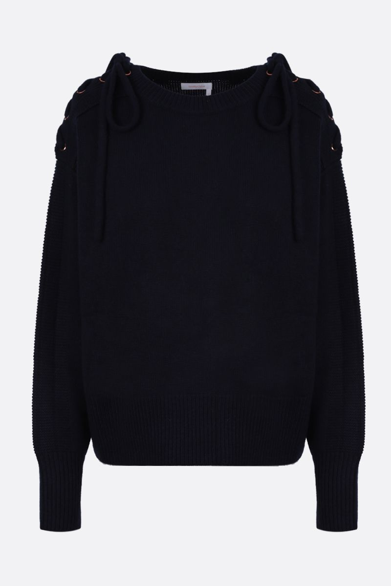 SEE BY CHLOÈ: laces-detailed knit pullover Color Blue_1