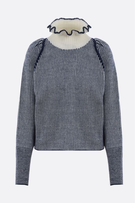 SEE BY CHLOÈ: wool blend ribbed-knit pullover Color White_1