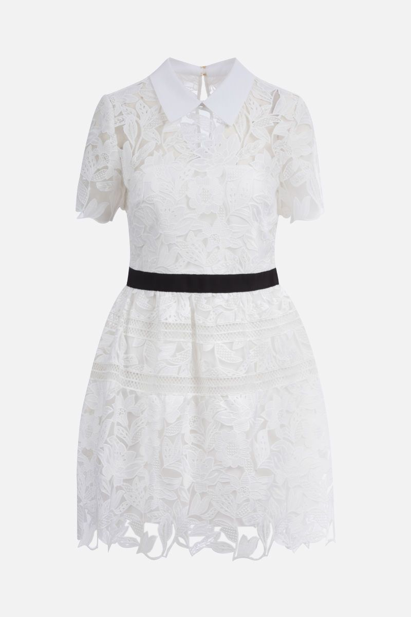 SELF PORTRAIT: guipure lace minidress Color White_1