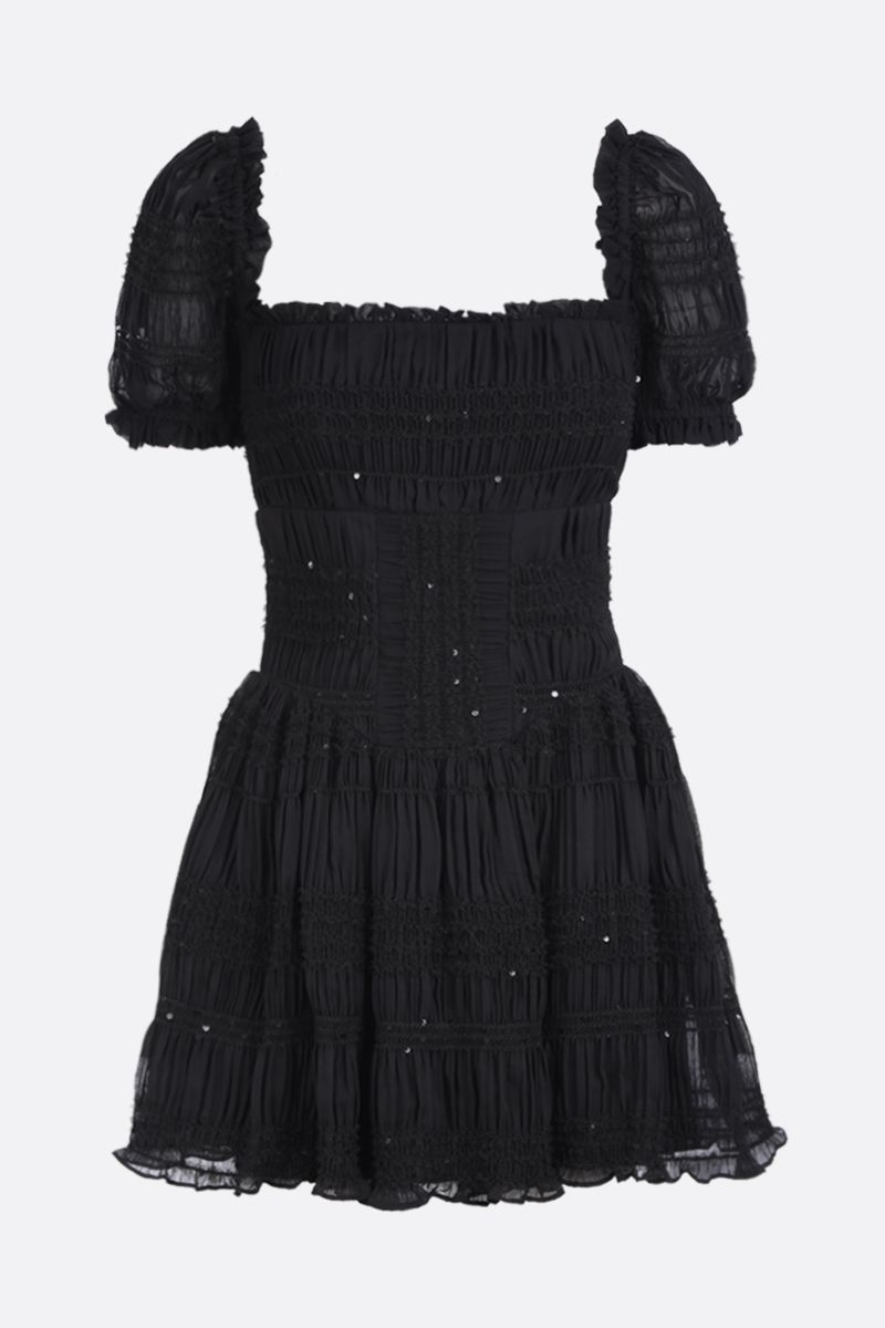 SELF PORTRAIT: shirred chiffon minidress with tulle trims Color Black_1
