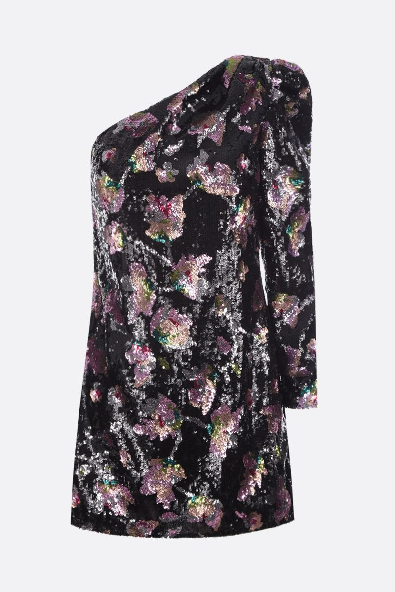 SELF PORTRAIT: Midnight Bloom sequinned one-shoulder minidress Color Multicolor_1