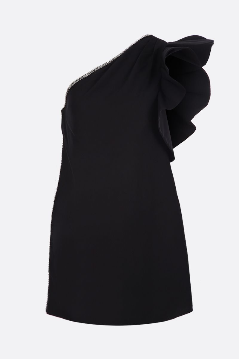 SELF PORTRAIT: crepe one-shoulder dress Color Black_1