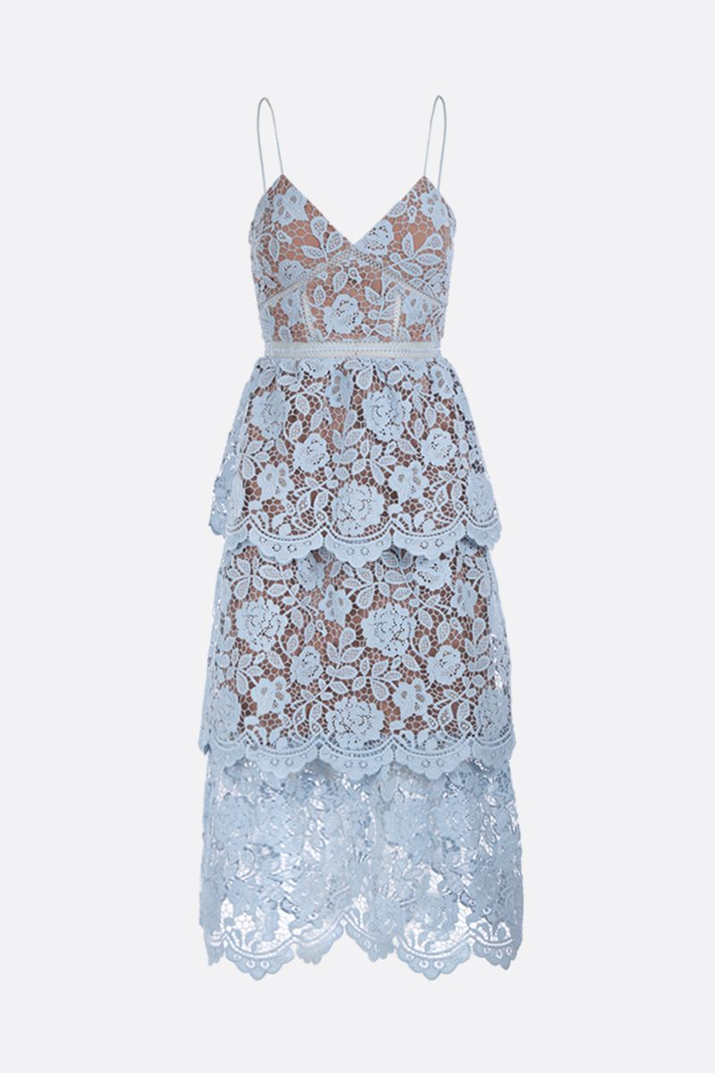 SELF PORTRAIT: floral lace flounced dress Color Blue_1
