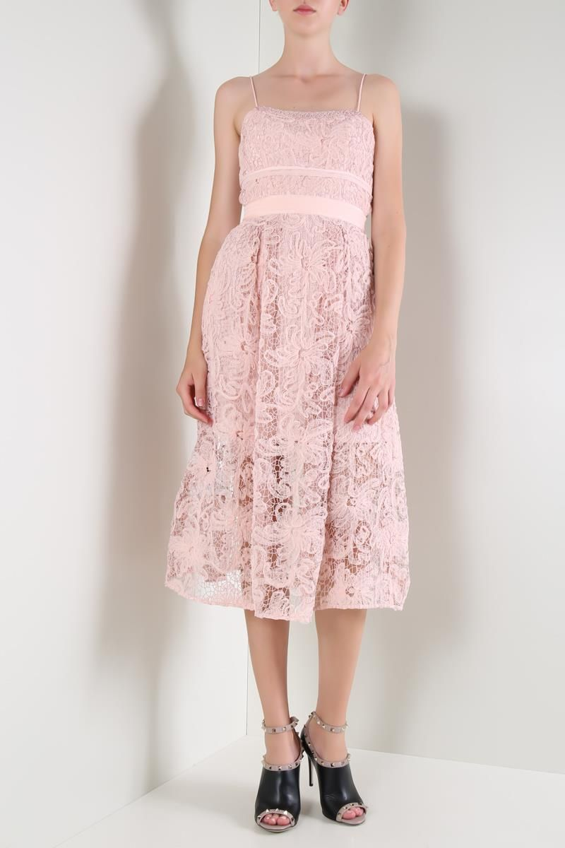 SELF PORTRAIT: Mesh lace midi dress Color Pink_2
