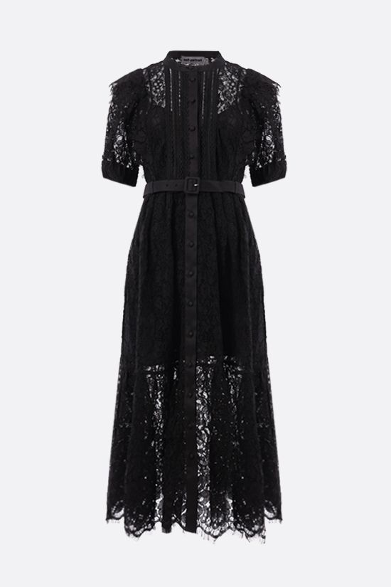 SELF PORTRAIT: floral lace shirt dress Color Black_1