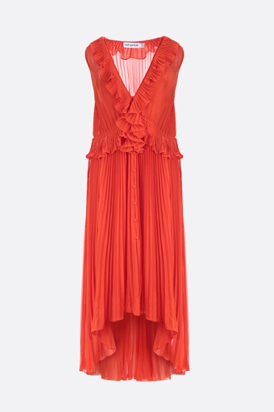 SELF PORTRAIT: ruffled chiffon pleated dress Color Orange_1