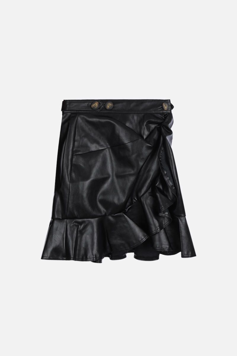 SELF PORTRAIT: faux leather flounced miniskirt Color Black_1