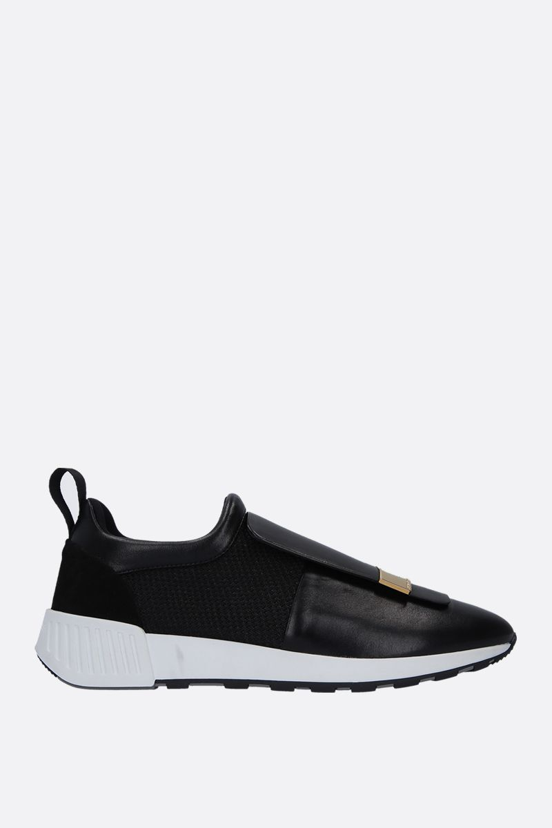 SERGIO ROSSI: sr1 Running sneakers in leather and mesh Color Black_1