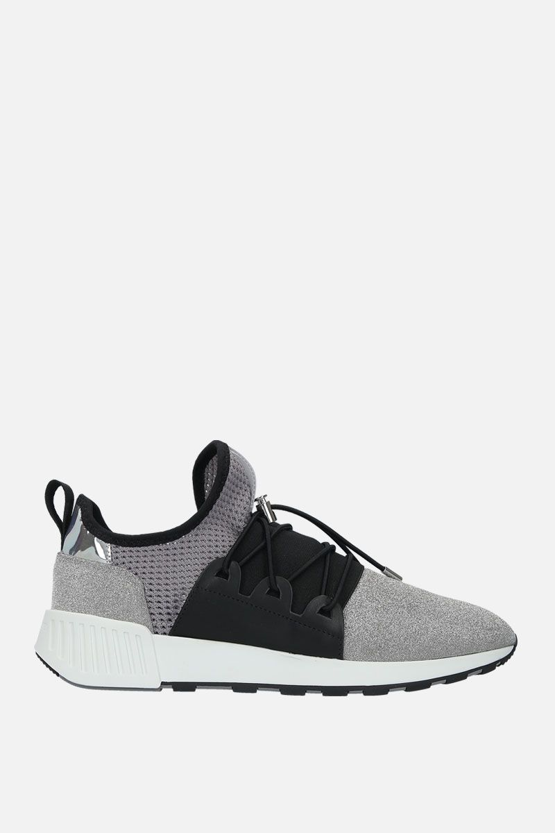 SERGIO ROSSI: sr1 Running sneakers in glitter fabric and mesh Color Silver_1