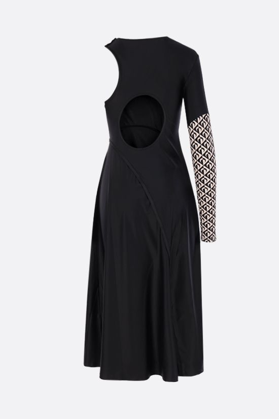 MARINE SERRE: Multicut technical jersey midi dress Color Black_2