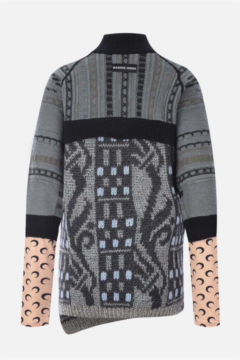 MARINE SERRE: recycled technical fabric and regenerated wool pullover Color Black_2