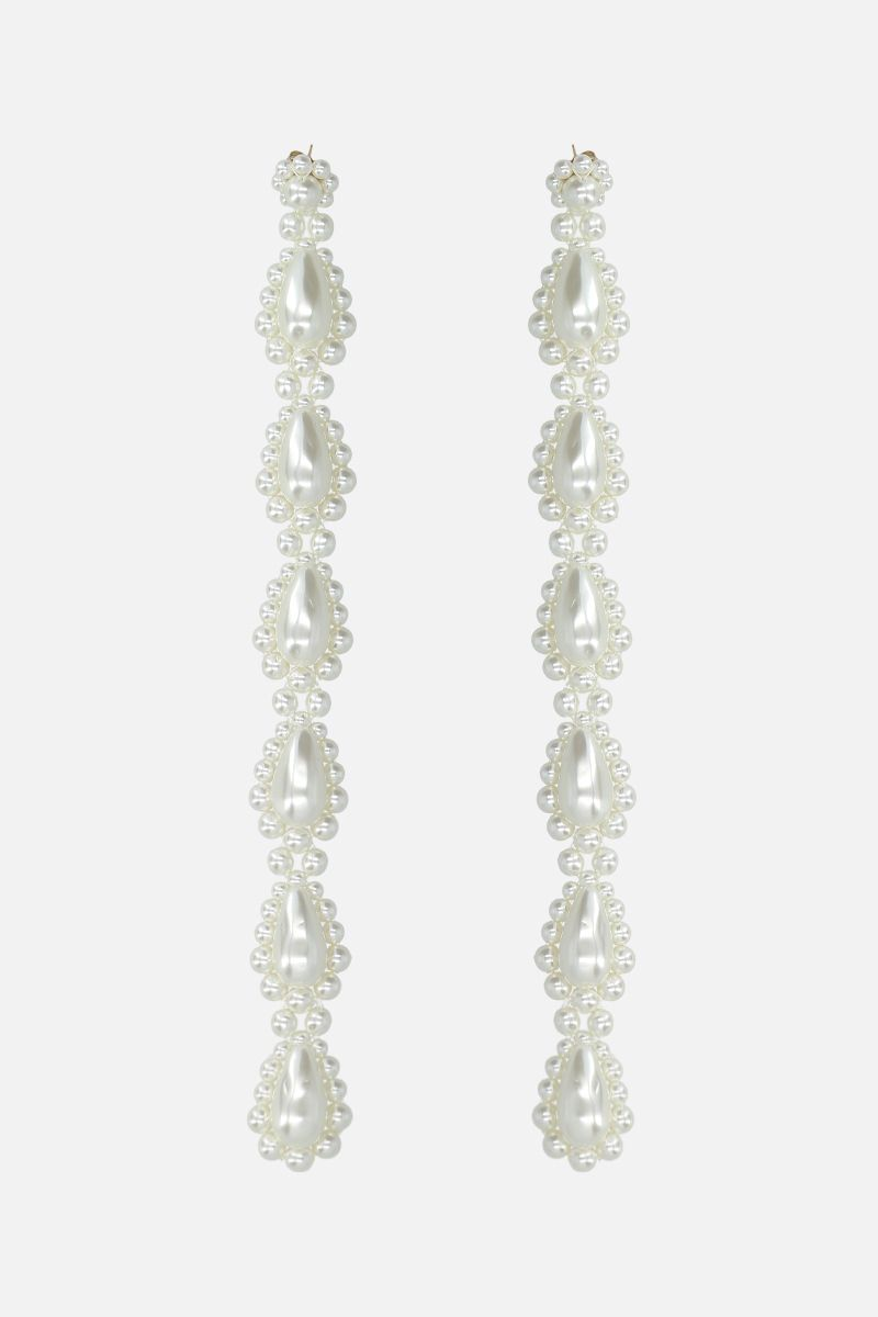 SIMONE ROCHA: bead-embellished brass long drop earrings Color Grey_1