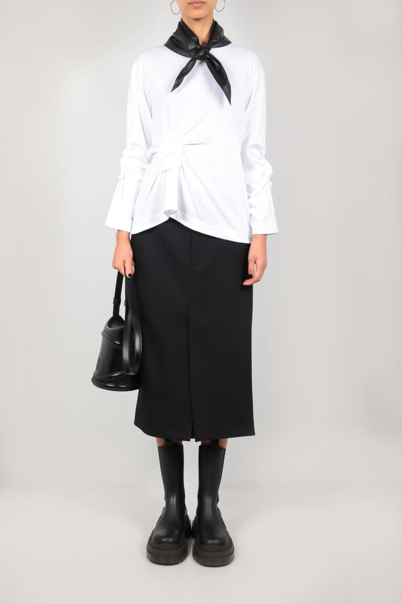 SIMONE ROCHA: Ruched Flower pearl-detailed cotton t-shirt Color White_2