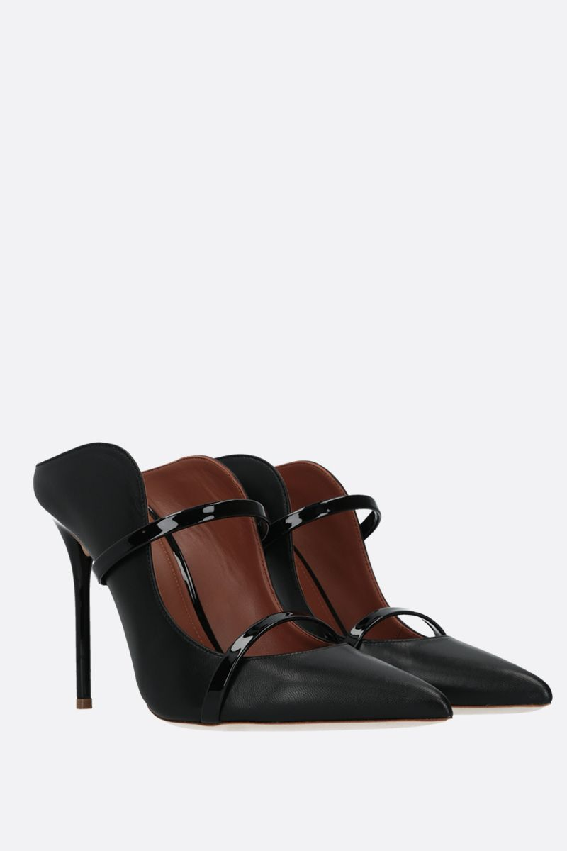 MALONE SOULIERS: Maureen nappa and patent leather mules Color Black_2