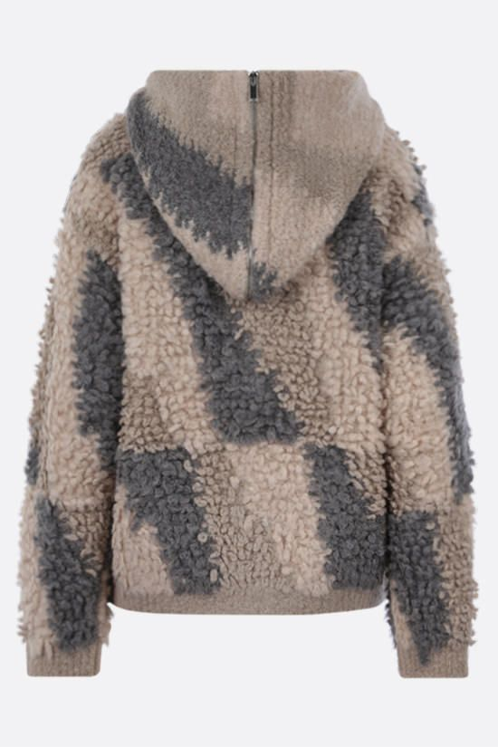 STELLA McCARTNEY: giubbotto full-zip in misto alpaca e lana Colore Marrone_2