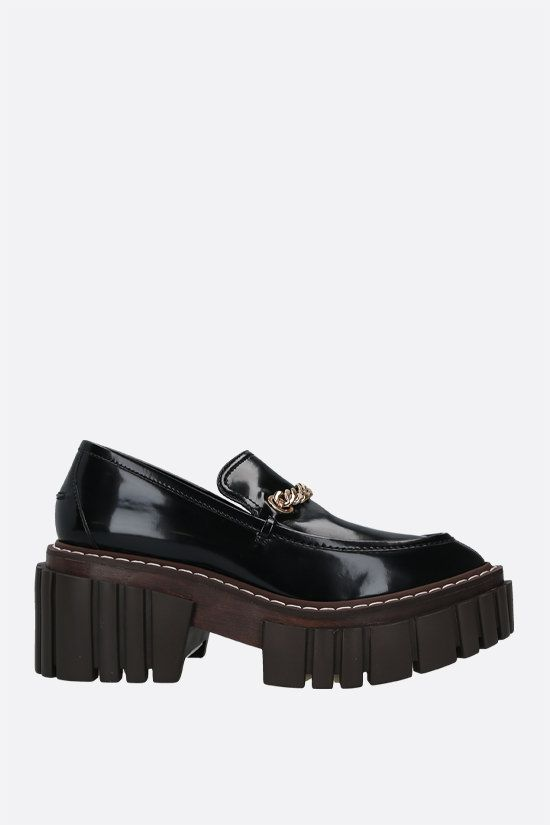 STELLA McCARTNEY: Emilie platform loafers in shiny faux leather Color Black_1