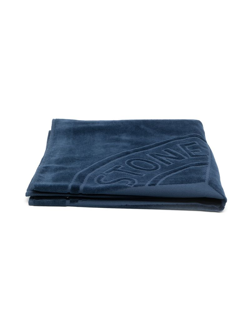 STONE ISLAND JUNIOR: logo-detailed terrycloth beach towel Color Blue_1