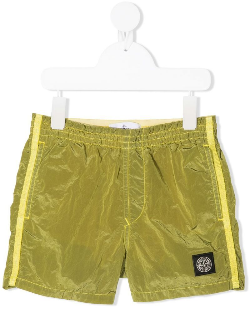 STONE ISLAND JUNIOR: reflective nylon swim shorts Color Yellow_1