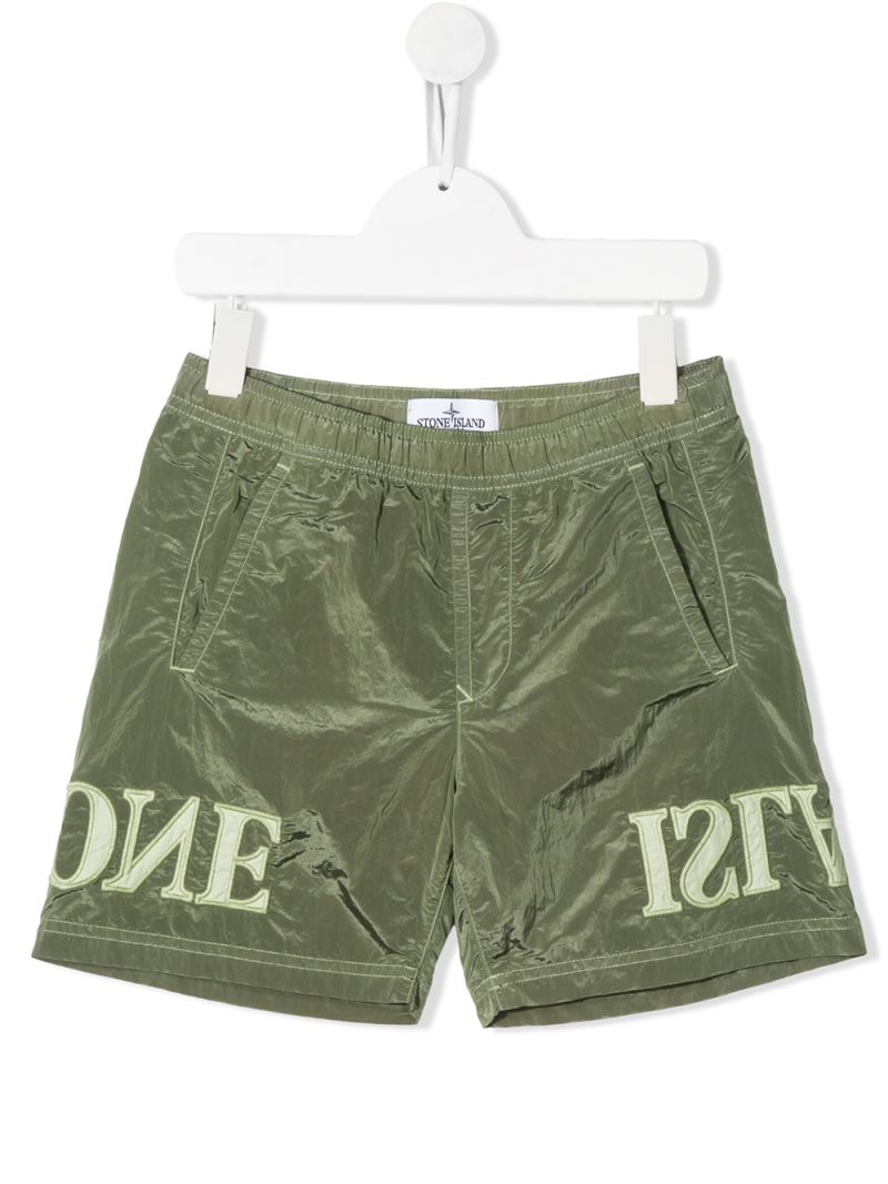 STONE ISLAND JUNIOR: logo embroidered nylon swim shorts Color Green_1