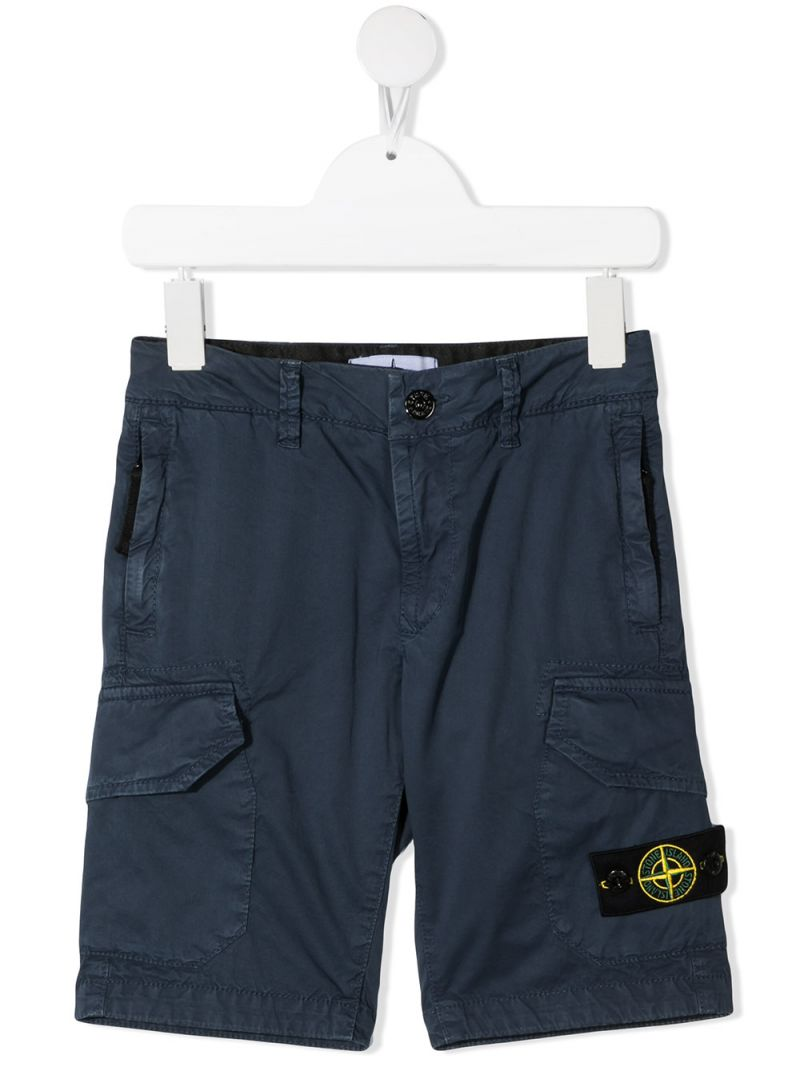STONE ISLAND JUNIOR: logo badge-detailed stretch cotton shorts Color Blue_1