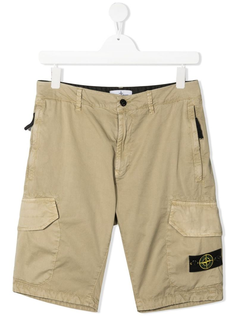 STONE ISLAND JUNIOR: logo badge-detailed stretch cotton shorts Color Brown_1