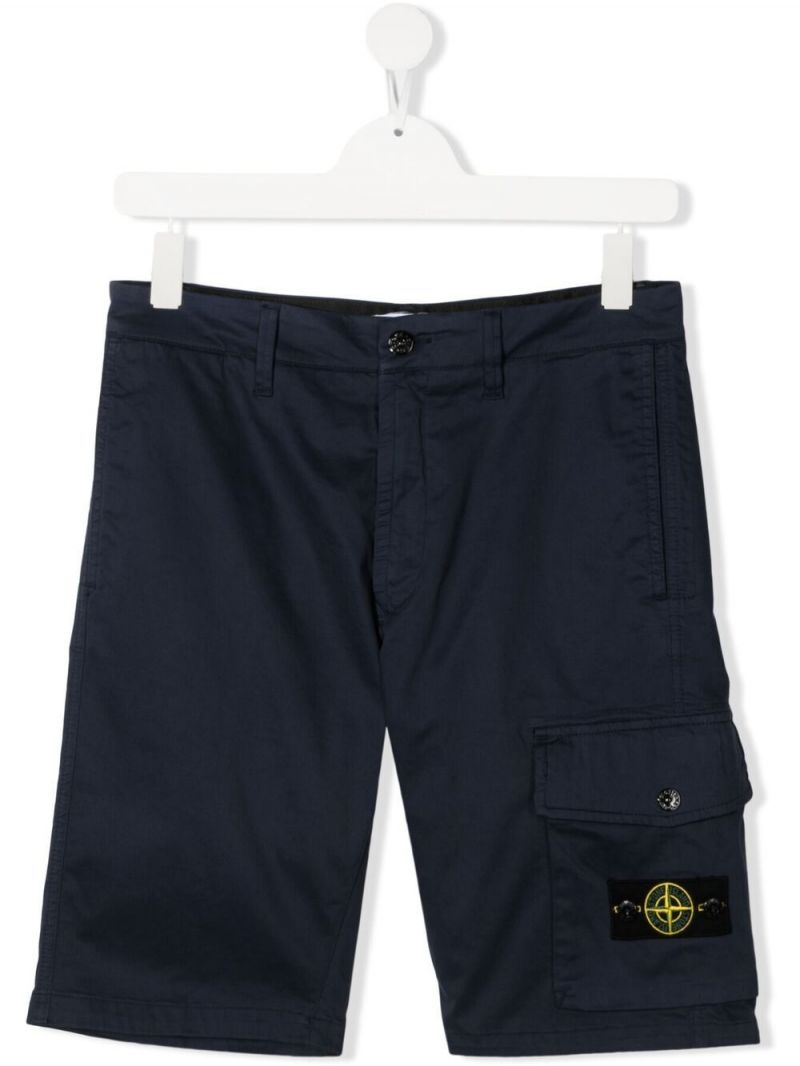 STONE ISLAND JUNIOR: stretch cotton shorts Color Blue_1