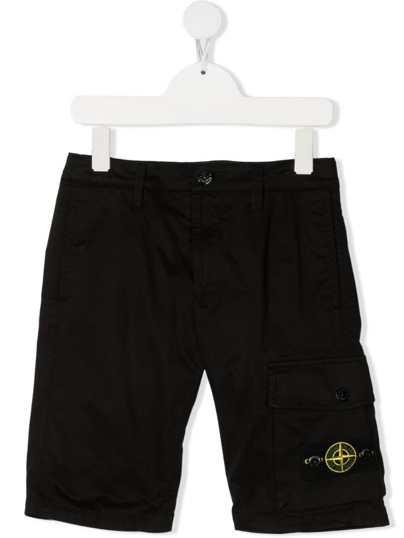 STONE ISLAND JUNIOR: stretch cotton shorts Color Black_1