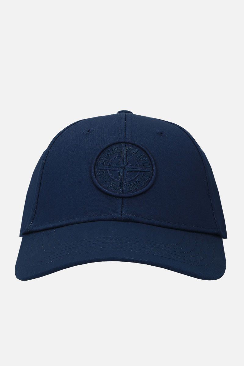 STONE ISLAND: logo-embroidered gabardine baseball cap Color Blue_1