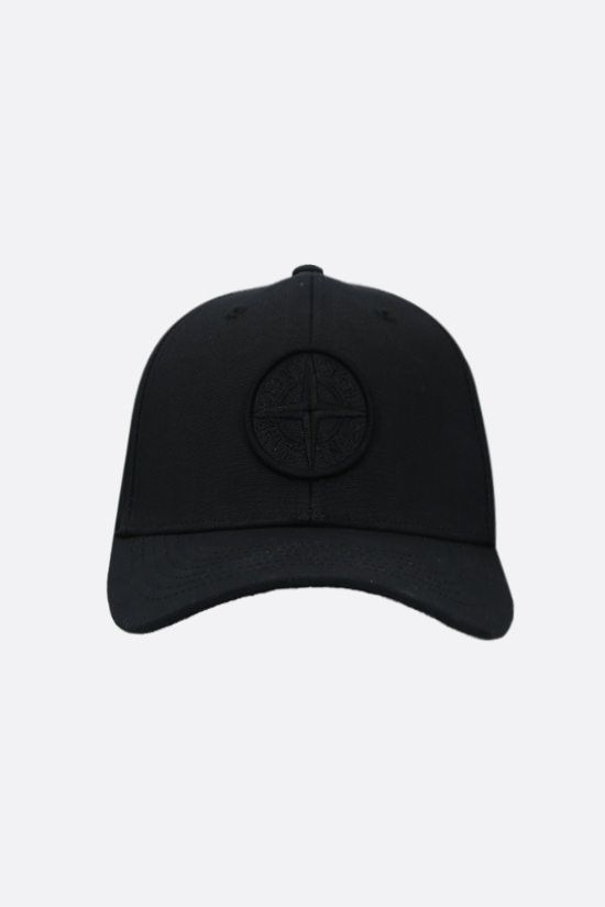 STONE ISLAND: logo-embroidered canvas baseball cap Color Black_1
