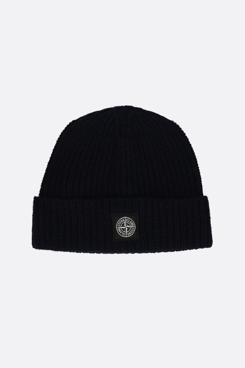 STONE ISLAND: logo patch ribbed wool beanie Color Blue_1