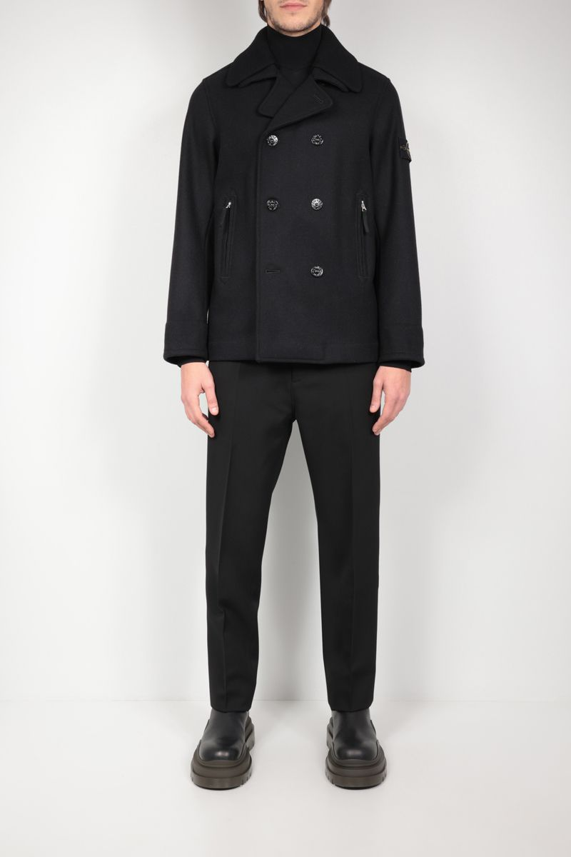STONE ISLAND: double-breasted technical wool jacket Color Black_2