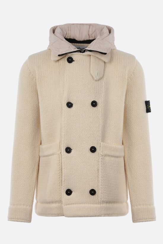 STONE ISLAND: double-breasted technical wool cardigan Color White_1