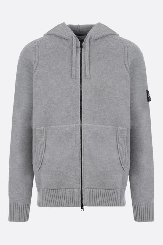STONE ISLAND: logo badge-detailed technical wool pullover Color Grey_1