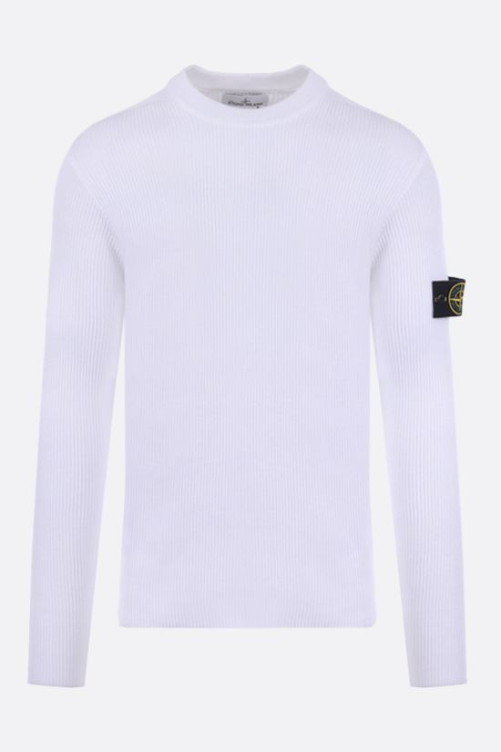 STONE ISLAND: logo badge-detailed ribbed cotton pullover Color White_1