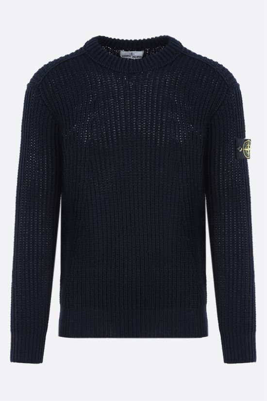 STONE ISLAND: logo badge-detailed ribbed knit pullover Color Blue_1