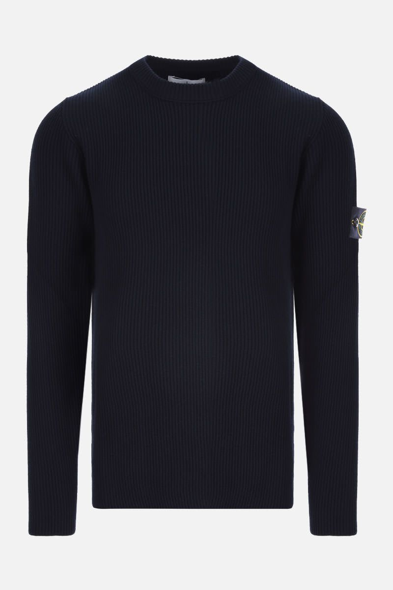 STONE ISLAND: logo badge-detailed ribbed wool pullover Color Blue_1