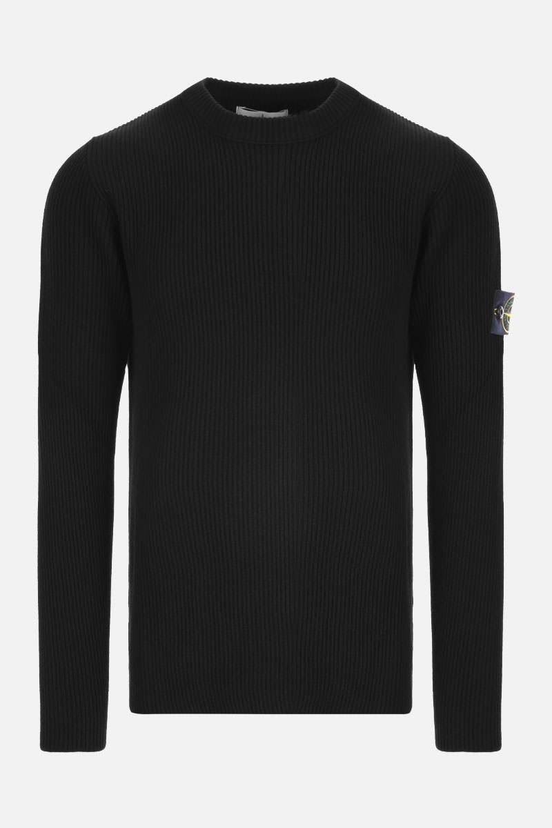 STONE ISLAND: logo badge-detailed ribbed wool pullover Color Black_1