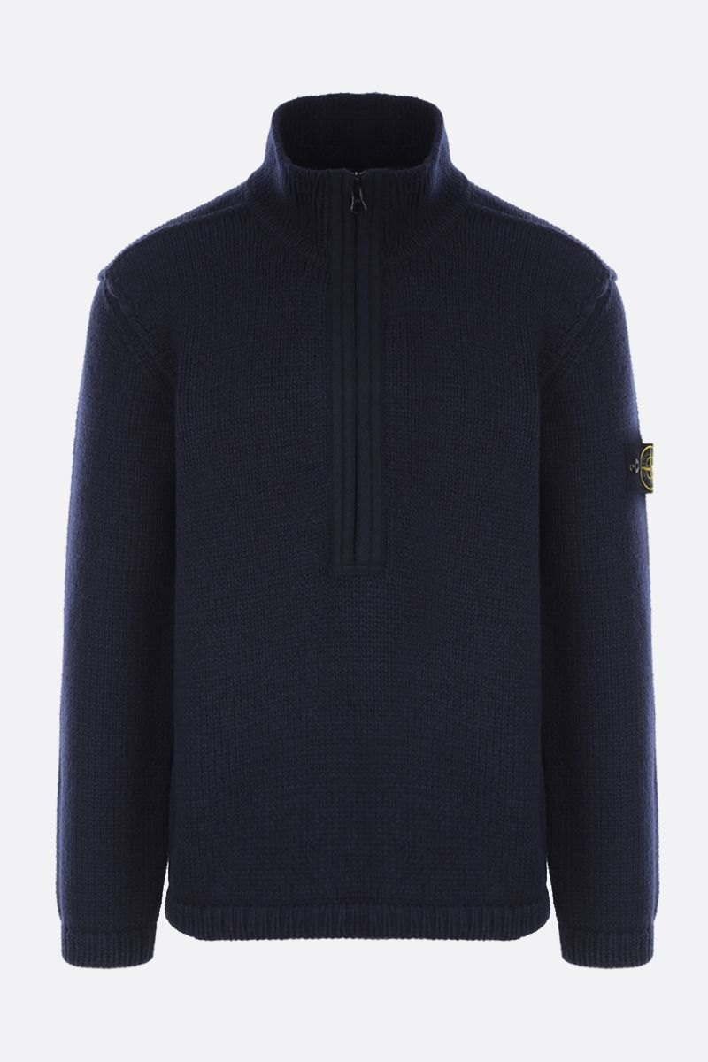 STONE ISLAND: logo badge-detailed wool blend pullover Color Blue_1