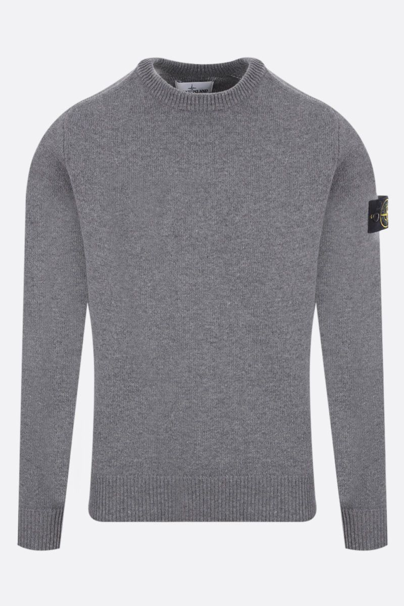 STONE ISLAND: logo badge-detailed wool blend pullover Color Grey_1