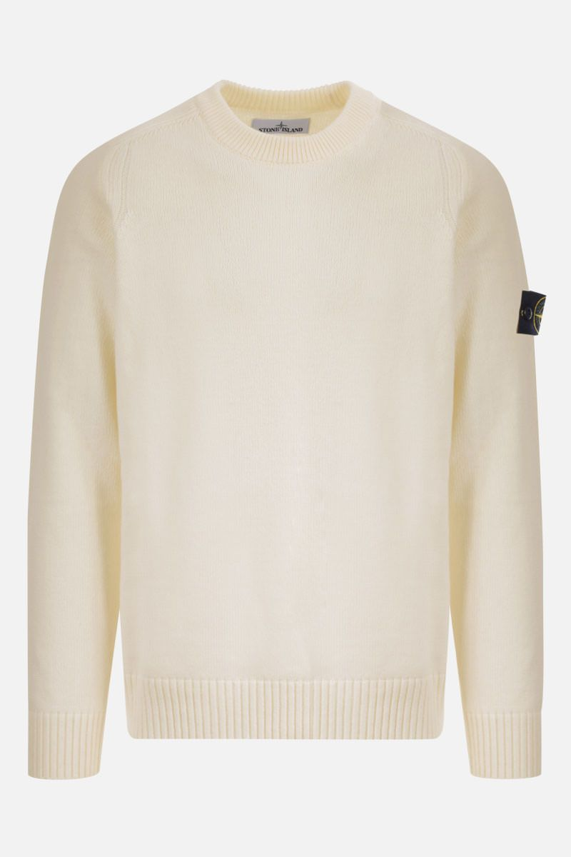 STONE ISLAND: logo badge-detailed wool blend pullover Color White_1