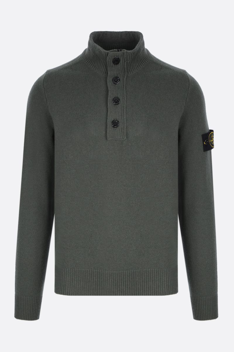 STONE ISLAND: logo badge-detailed wool blend pullover Color Green_1