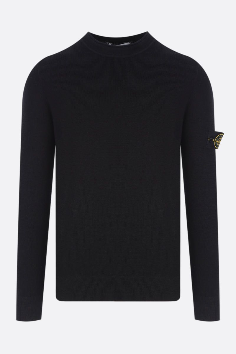 STONE ISLAND: logo badge-detailed wool pullover Color Black_1