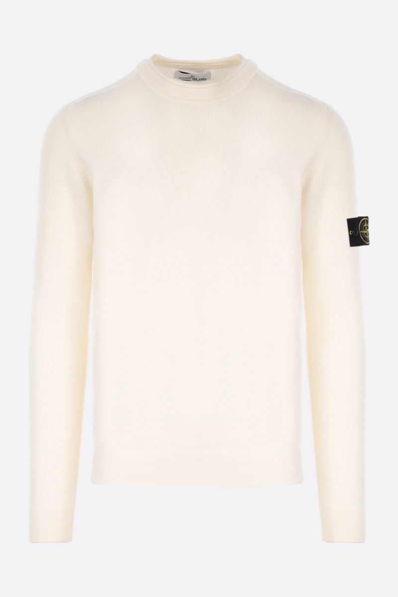 STONE ISLAND: logo badge-detailed wool pullover Color Neutral_1