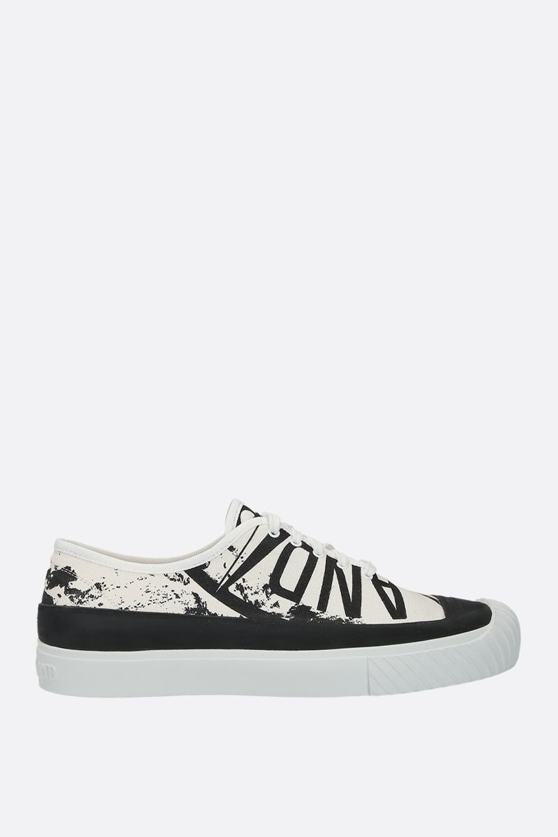 STONE ISLAND: sneaker low-top in canvas stampa grafica Colore Nero_1