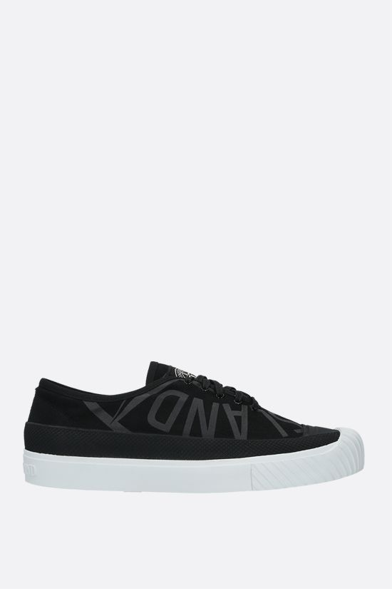 STONE ISLAND: logo print canvas low-top sneakers Color Black_1