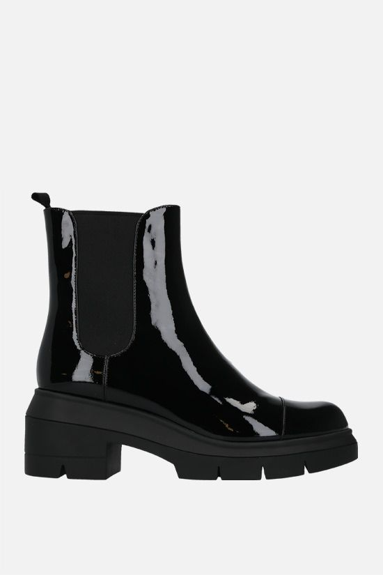 STUART WEITZMAN: Norah patent leather chelsea boots Color Black_1