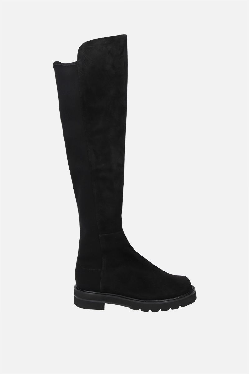 STUART WEITZMAN: 5050 Lift suede and stretch gabardine over-the-knee boots Color Black_1